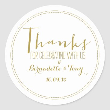 Beach Themed Thanks For Celebrating With Us! Wedding Thank You Classic Round Sticker