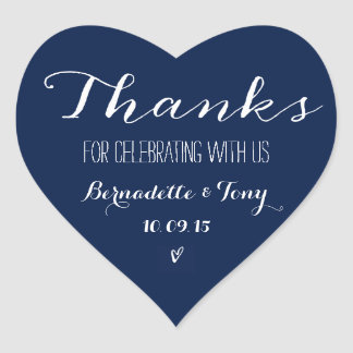 Thanks For Celebrating With Us! Wedding Thank You Heart Sticker