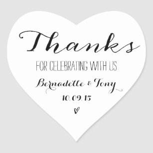 Thanks For Celebrating With Us Wedding Thank You Heart Sticker