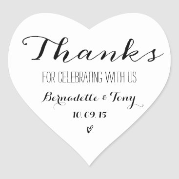 Beach Themed Thanks For Celebrating With Us! Wedding Thank You Heart Sticker