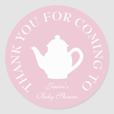 Toddler & Baby themed Thanks for coming baby shower tea party stickers