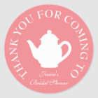 Thanks for coming bridal shower tea party stickers