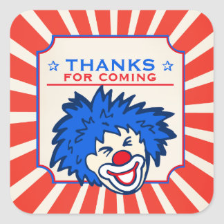 Thanks for coming circus clown birthday sticker