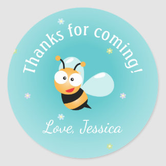 Thanks For Coming Cute Bumble Bee Boy Baby Shower Classic Round Sticker