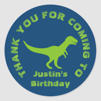 Thanks for coming dinosaur birthday party stickers