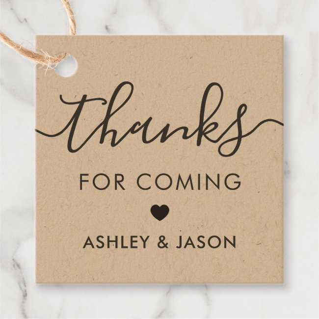 Thanks for Coming Tag, Wedding Thank You, Kraft Favor Tags