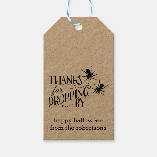 Thanks for Dropping By   Halloween Party Favor Tag