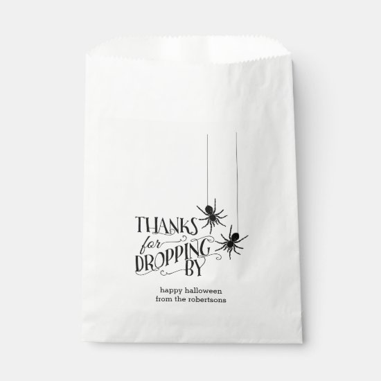 Thanks for Dropping By | Spider Halloween Candy Favor Bag
