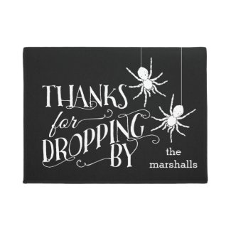 Thanks For Dropping By | Spooky Spider Halloween Doormat