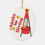 Thanks For Giving Double-Sided Oval Ceramic Christmas Ornament