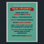 """Thanks for keeping it Deaf Friendly. an ASL poster<br><div class=""""desc"""">Another great poster for your ASL classroom</div>"""