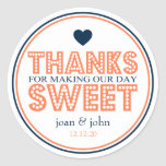 Thanks For Making Our Day Sweet (Coral / Navy) Classic Round Sticker