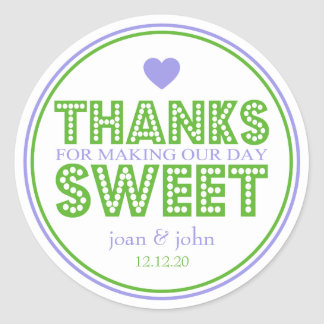 Thanks For Making Our Day Sweet (Violet / Green) Classic Round Sticker