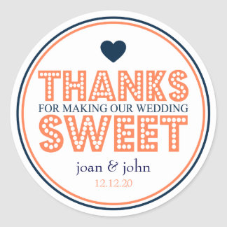 Thanks For Making Our Wedding Sweet (Coral / Navy) Classic Round Sticker