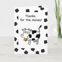 Thanks for Money, Funny Cash Cow Thank You Card