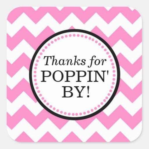 Thanks for Poppin' By Square sticker - Chevron   Zazzle