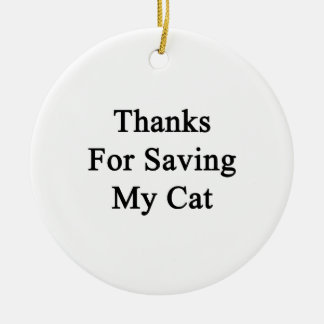 Thanks For Saving My Cat Double-Sided Ceramic Round Christmas Ornament