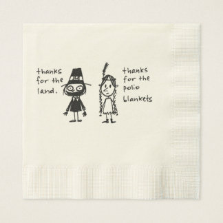 Thanks for the Polio Blankets Thanksgiving Stuff Paper Napkin
