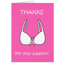 Thanks for your support, pink ribbon bra. card