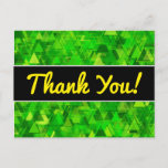 """[ Thumbnail: Thanks + """"Forest"""" of Green Triangle Shapes Pattern Postcard ]"""