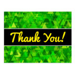 "[ Thumbnail: Thanks + ""Forest"" of Green Triangle Shapes Pattern Postcard ]"