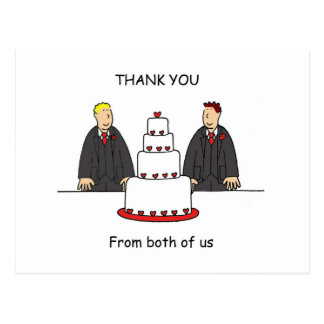 Thanks from both of us, two grooms. postcard