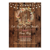 Thanks Giving Thanksgiving Floral Fall Invite