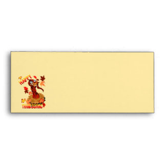 Thanks Giving Turkey and Autumn Leaves Envelope
