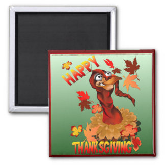Thanks Giving Turkey and Autumn Leaves_Magnets Fridge Magnet