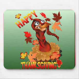Thanks Giving Turkey and Autumn Leaves_Mousepad Mouse Pad