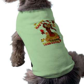 Thanks Giving Turkey and Autumn Leaves Pet Clothin Pet Shirt