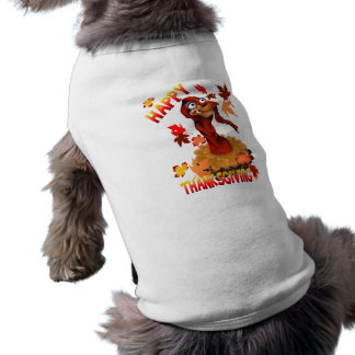 Thanks Giving Turkey and Autumn Leaves Pet Clothin Shirt
