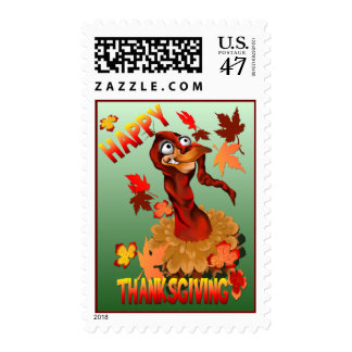 Thanks Giving Turkey and Autumn Leaves Postage