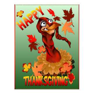 Thanks Giving Turkey and Autumn Leaves  Postcard