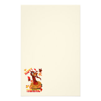 Thanks Giving Turkey and Autumn Leaves Stationery