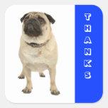 Thanks Greeting Pug Puppy Dog Stickers