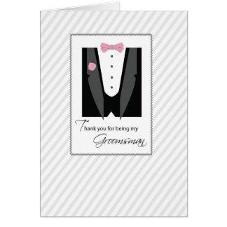 Thanks Groomsman, Tux, Rose Pink Card