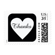 thanks heart on black square postage