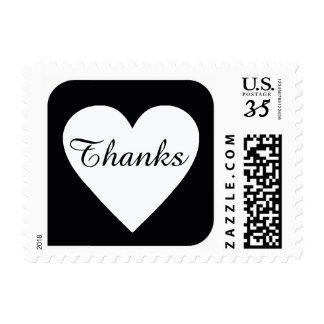thanks heart on black square postage