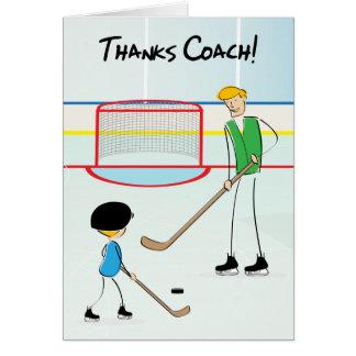 Thanks Hockey Coach Greeting Card (from boy)