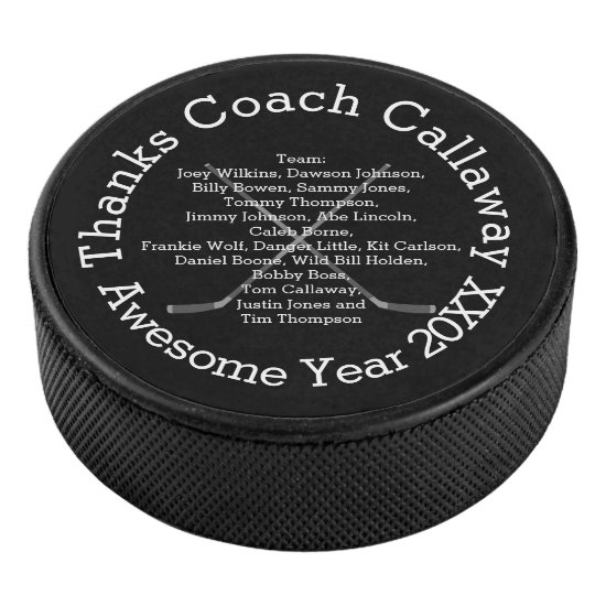 Thanks Hockey Coach with Team Names Hockey Puck
