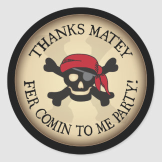 Thanks Matey Pirate Skull Thank You Sticker