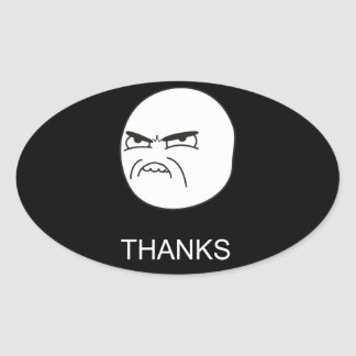 Thanks Meme - Oval Black Stickers