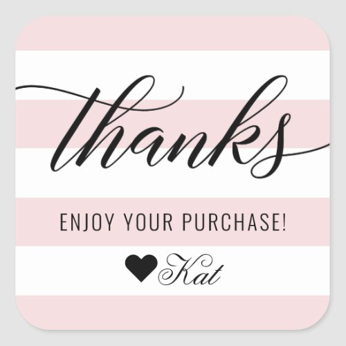 Thanks Modern Black Script Pale Pink Stripes Square Sticker