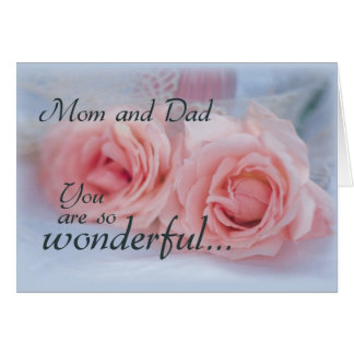 Thanks Mom and Dad, Wedding, Pink Rose Greeting Card