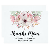 Thanks Mom Country Floral | Wedding Thank You Card