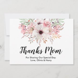 Thanks Mom Country Floral   Wedding Thank You Card
