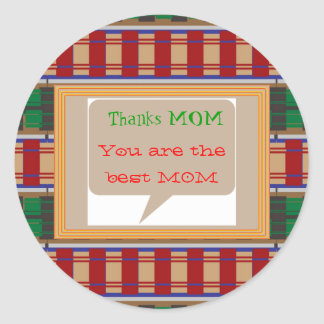 Thanks MOM - editable text for other uses Classic Round Sticker