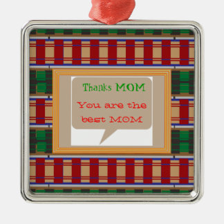 Thanks MOM - editable text for other uses Square Metal Christmas Ornament