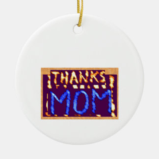 THANKS MOM -  Gold RoyalBLUE Mothersday Gifts Double-Sided Ceramic Round Christmas Ornament